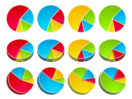 vector 3D rounded graphs Vector