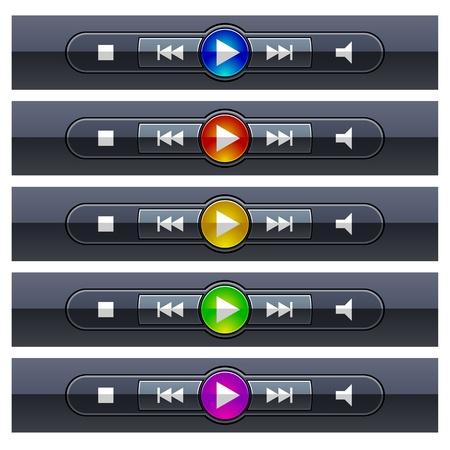 media player: vector shiny multimedia panels
