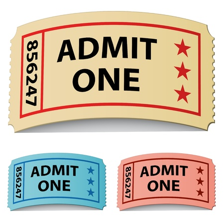 admit: vector 3d curled tickets