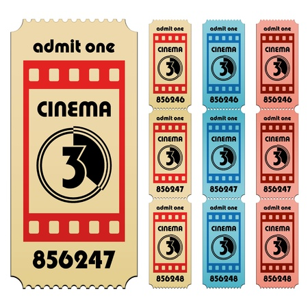 entry numbers: vector cinema tickets