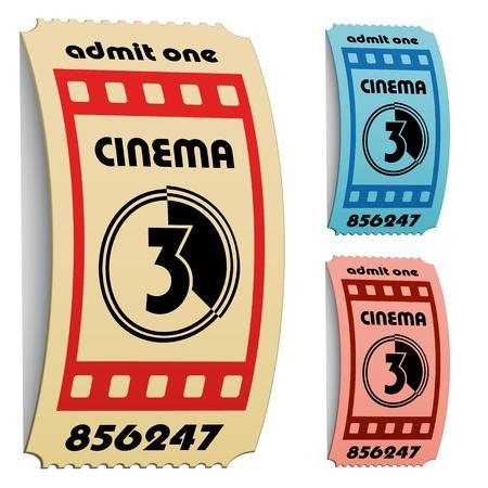 vector 3d curled cinema tickets Stock Vector - 11504811