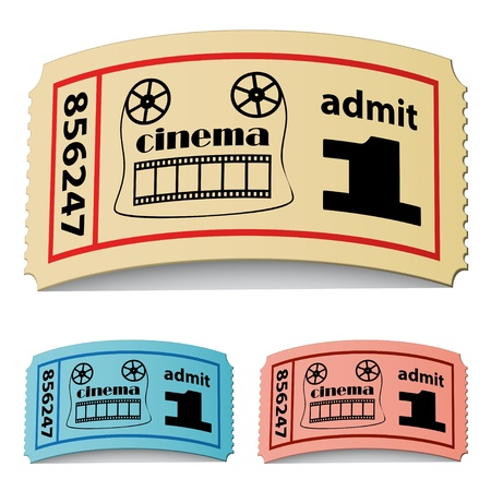 vector 3d curled cinema tickets Stock Vector - 11504884