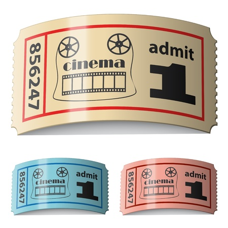 vector 3d shiny curled cinema tickets Stock Vector - 11504912