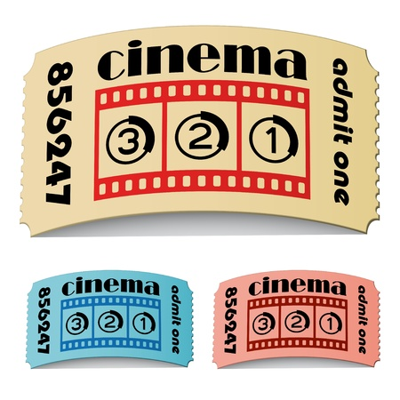 vector 3d curled cinema tickets Stock Vector - 11504848