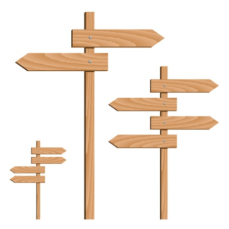 vector wooden direction arrows Vector