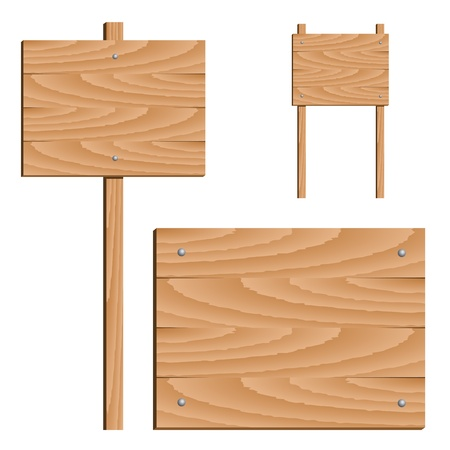 notices: vector wooden signs Illustration
