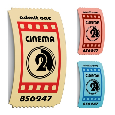 admit one: vector 3d curled cinema tickets Illustration