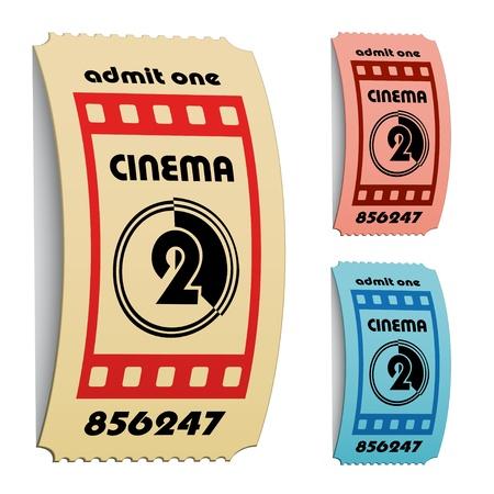 vector 3d curled cinema tickets Stock Vector - 11504815