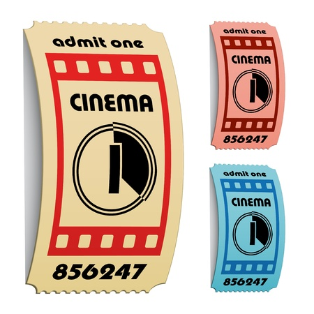 vector 3d curled cinema tickets Stock Vector - 11504812