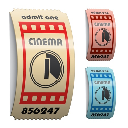 vector 3d shiny curled cinema tickets Vector