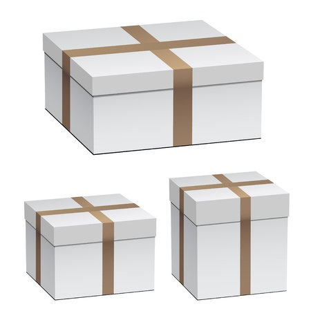 closed box: vector white shipping boxes