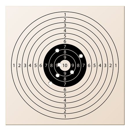 shots: vector paper rifle target with bullet holes Illustration