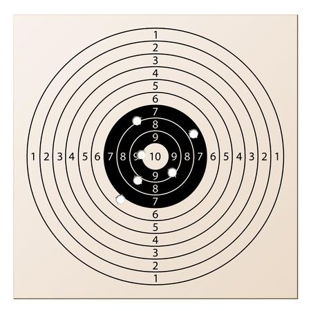 uccidere: vettore di fucile bersaglio di carta con fori di proiettile Vettoriali