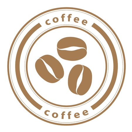 coffee beans: granos de caf� de vectores sello