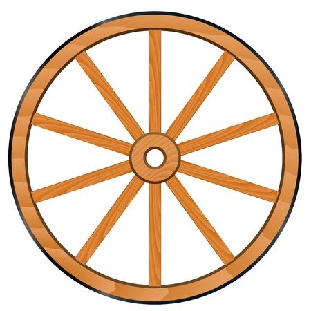 carriage: vettoriale vecchia ruota in legno Vettoriali