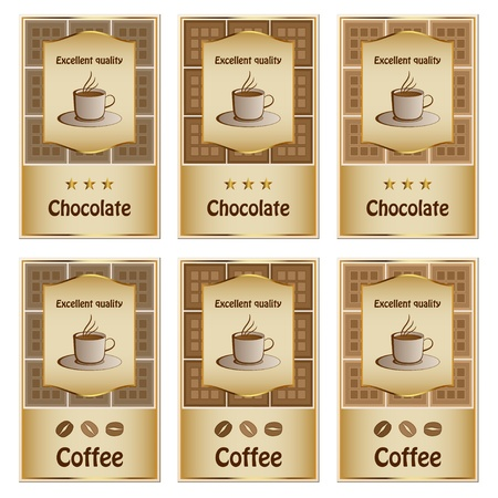 contemporary taste: vector coffee and chocolate labels Illustration