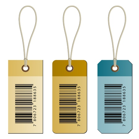 ean: vector barcode cardboard tags