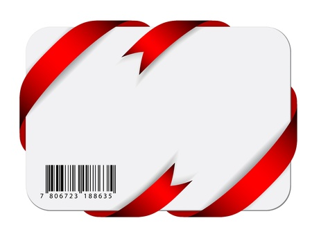 red tape: Vector festive card with barcode