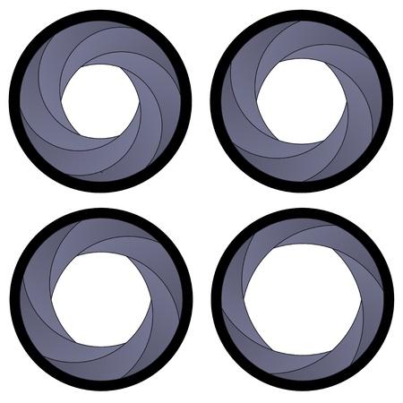 camera lens: vector camera shutter apertures