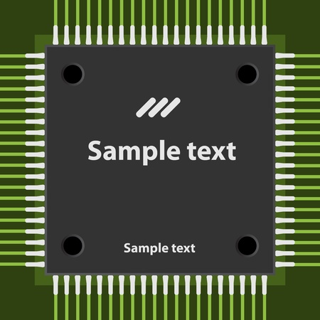 data processor: vector microchip Illustration