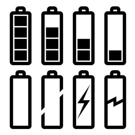 piles: symboles de vecteur de niveau de batterie