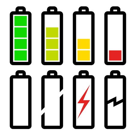 baterii: Symbole wektorowych poziomu naładowania baterii Ilustracja
