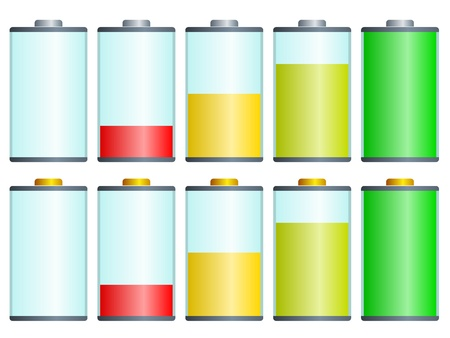 low battery: vector symbols of battery level