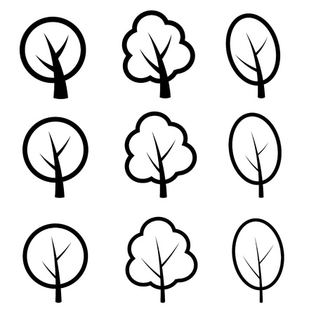 arboles blanco y negro: s�mbolos de vector de �rboles