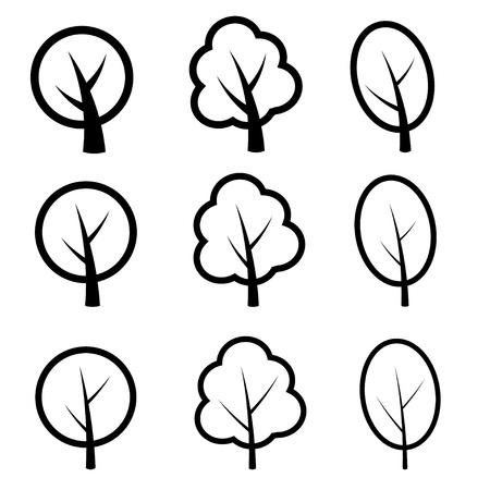 bomen zwart wit: vector boom symbolen