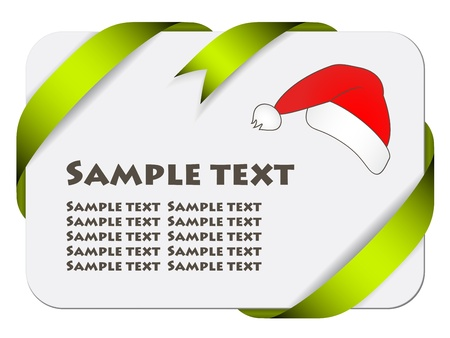 Vector festive card with ribbon and christmas hat Vector