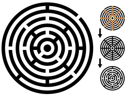 mind games: vector laberinto - laberinto para facilitar el cambio - cambio de color cualquier pieza Vectores