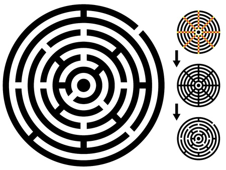 brain mysteries: vector maze - easy change maze - change color any piece