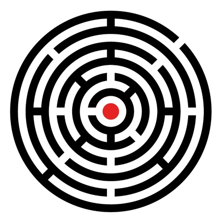brain mysteries: vector rounded maze Illustration