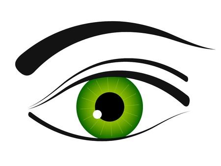 ojos verdes: vector icono de ojo