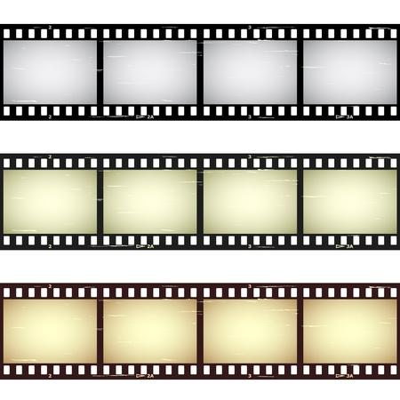 camara de cine: vector rayado tiras de película transparente