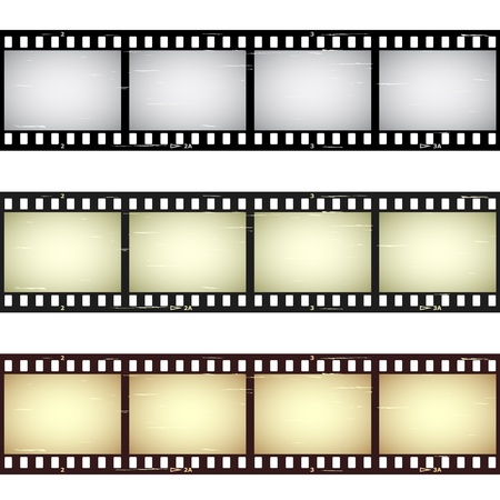 movie film: vector scratched seamless film strips