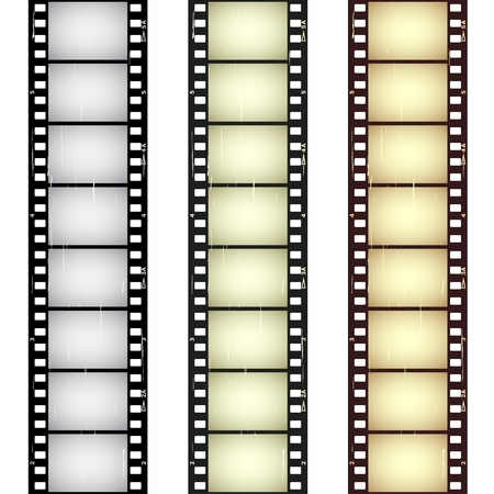 film set: vector scratched seamless film strips