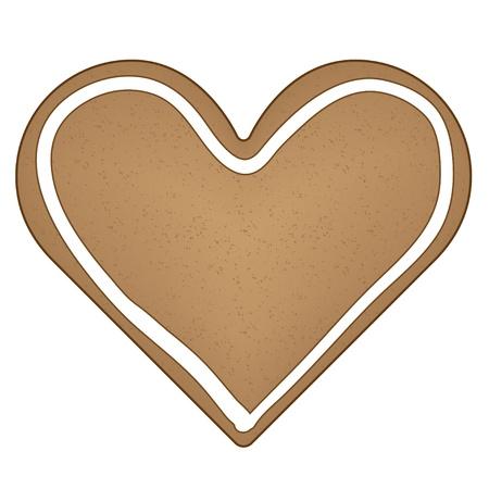 gingerbread heart: vector gingerbread heart Illustration