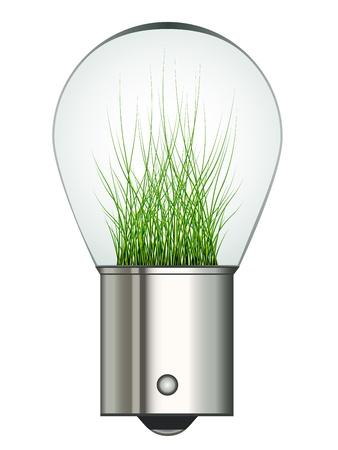 electric car: vector bayonet car eco bulb Illustration
