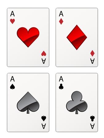 heart diamond: vector aces isolated