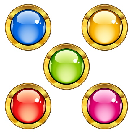 green and gold: Vector glossy buttons