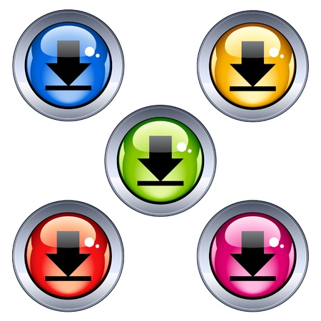 Vector glossy download buttons Vector