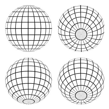 meridiano: globos de vectores Vectores