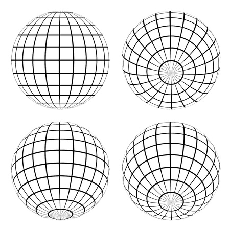 grid black background: vector globes