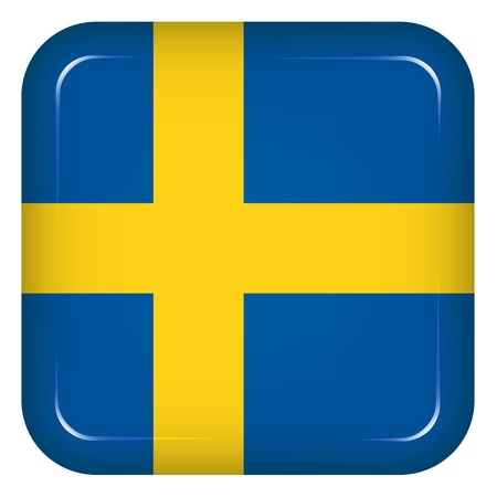 flag button: Vector sweden flag Illustration