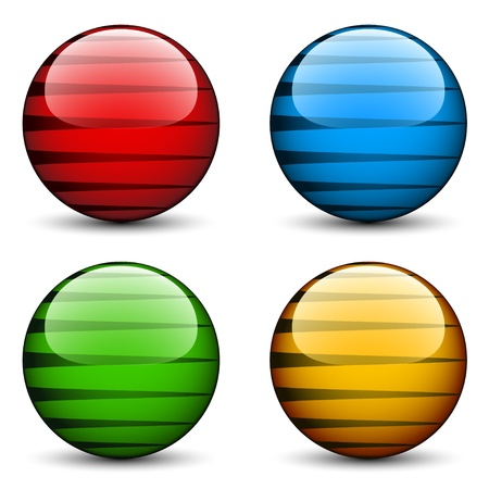 crystal button: vector glass spheres