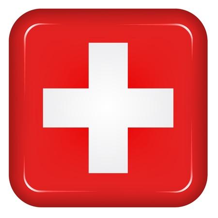 shiny shield: Vector switzerland flag Illustration