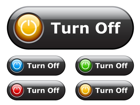 stop light: vector black glossy buttons