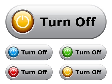 turn on: vector white glossy buttons Illustration