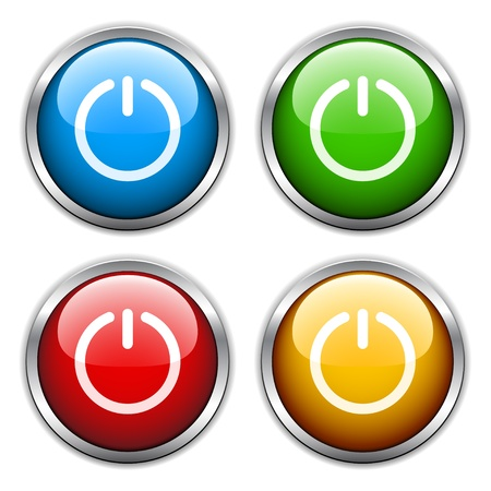 turn on: vector glossy buttons Illustration